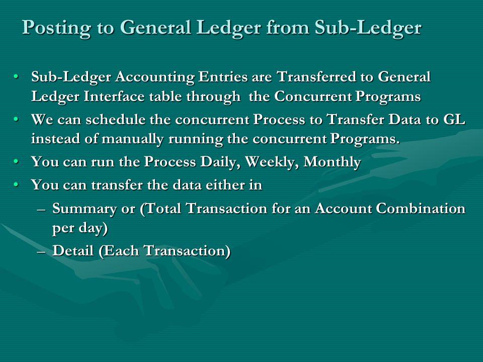 Posting to General Ledger from Sub-Ledger