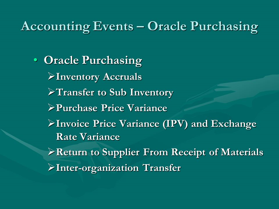 Accounting Events – Oracle Purchasing
