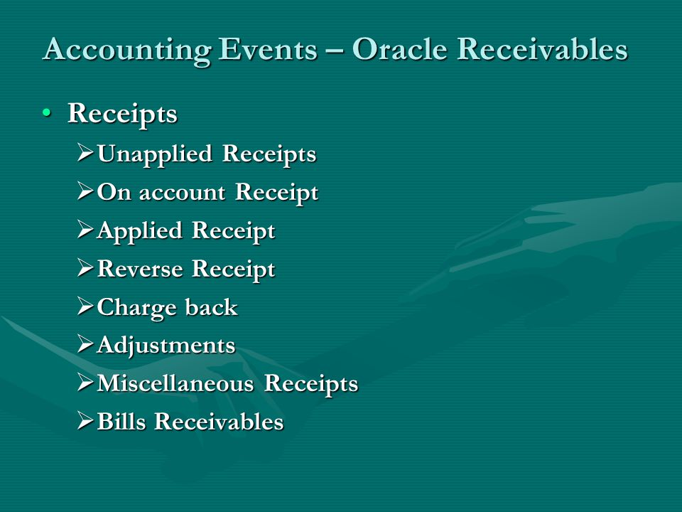 Accounting Events – Oracle Receivables