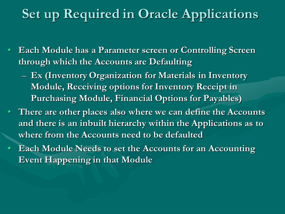 Set up Required in Oracle Applications