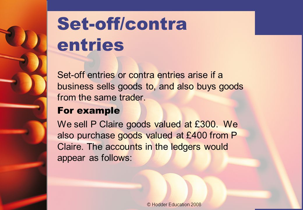 Set-off/contra entries