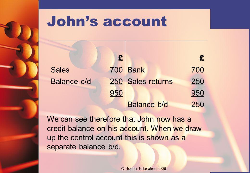 John's account £ Sales 700 Bank Balance c/d 250 Sales returns 950