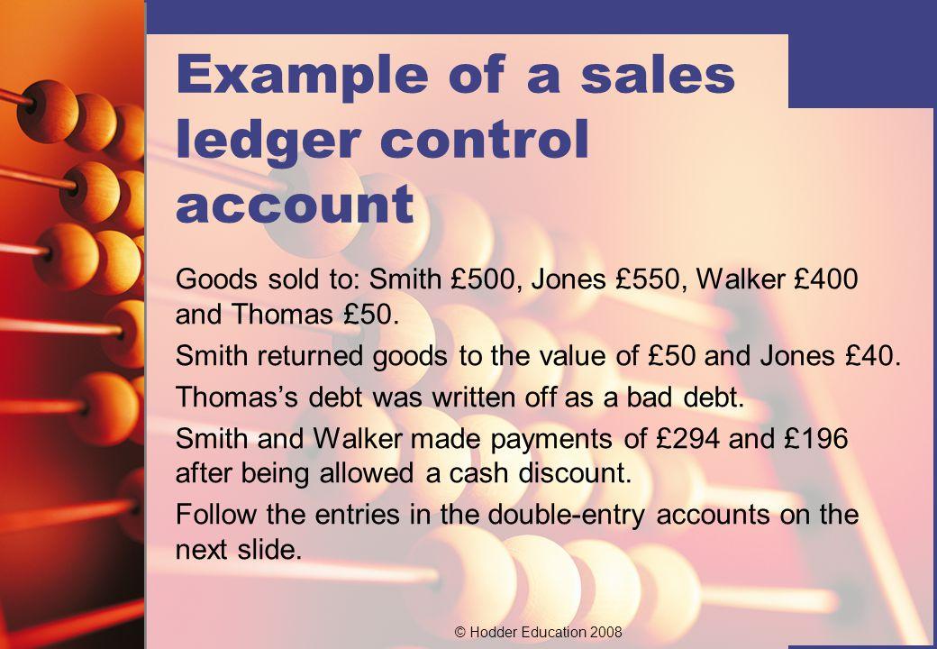Example of a sales ledger control account