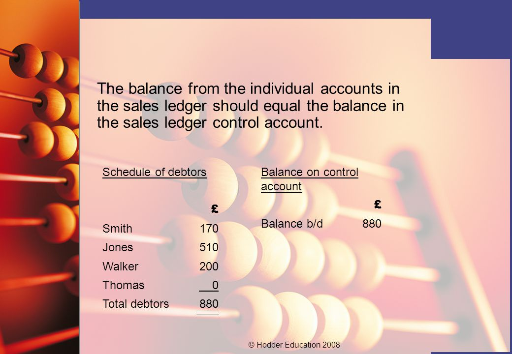 The balance from the individual accounts in the sales ledger should equal the balance in the sales ledger control account.