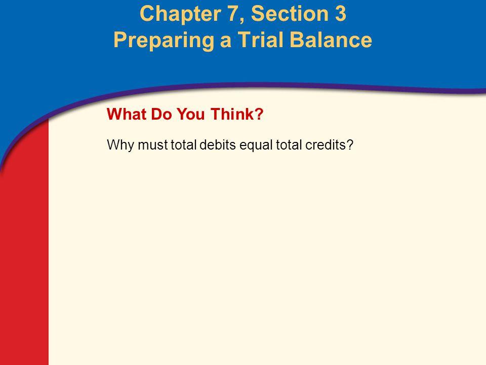 Preparing a Trial Balance