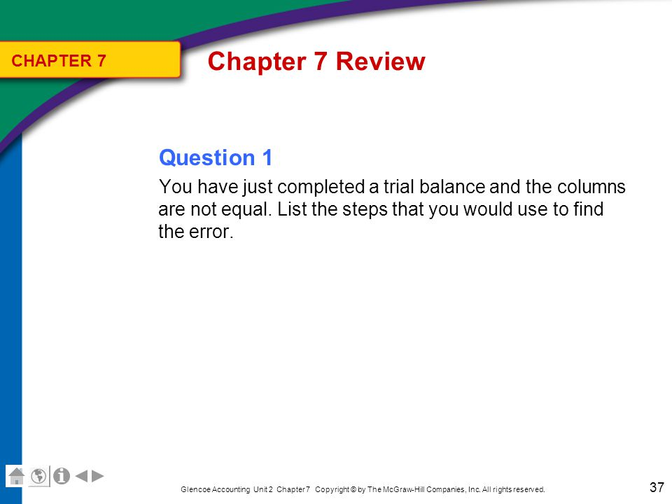 Chapter 7 Review Answer 1 Step 1: Check the addition in each column.