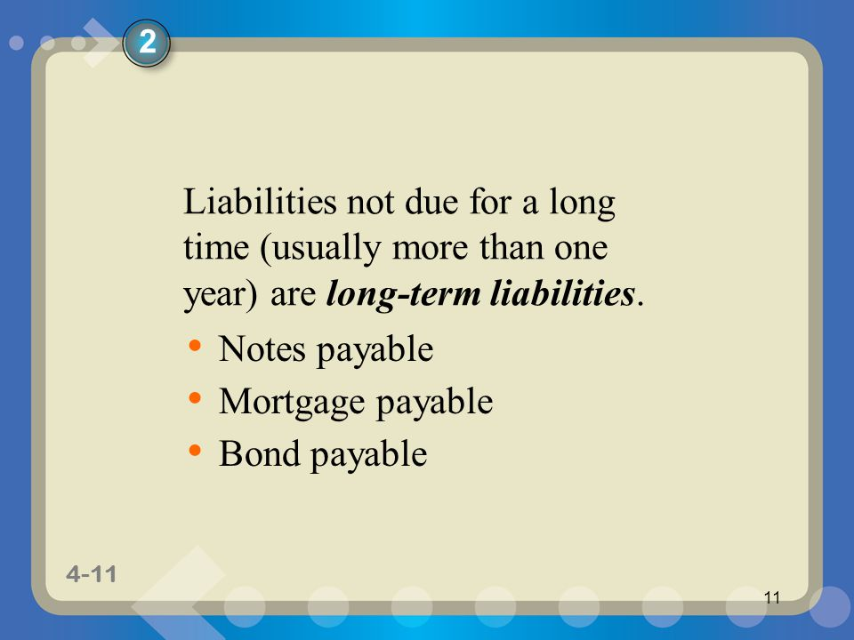 2 Liabilities not due for a long time (usually more than one year) are long-term liabilities. Notes payable.