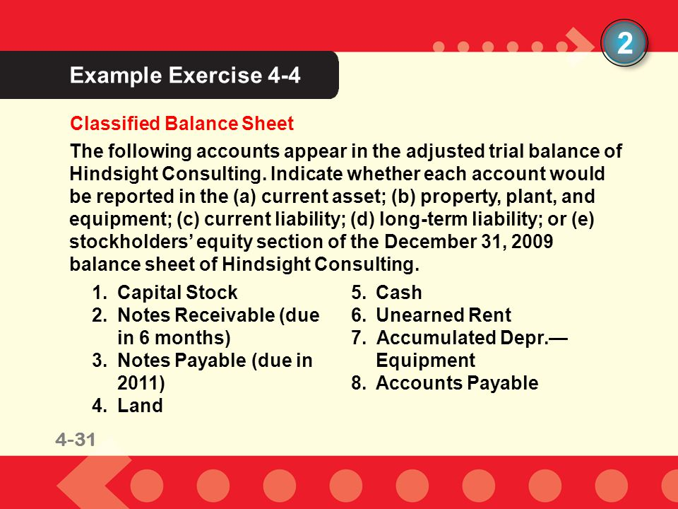 2 Example Exercise 4-4 Classified Balance Sheet