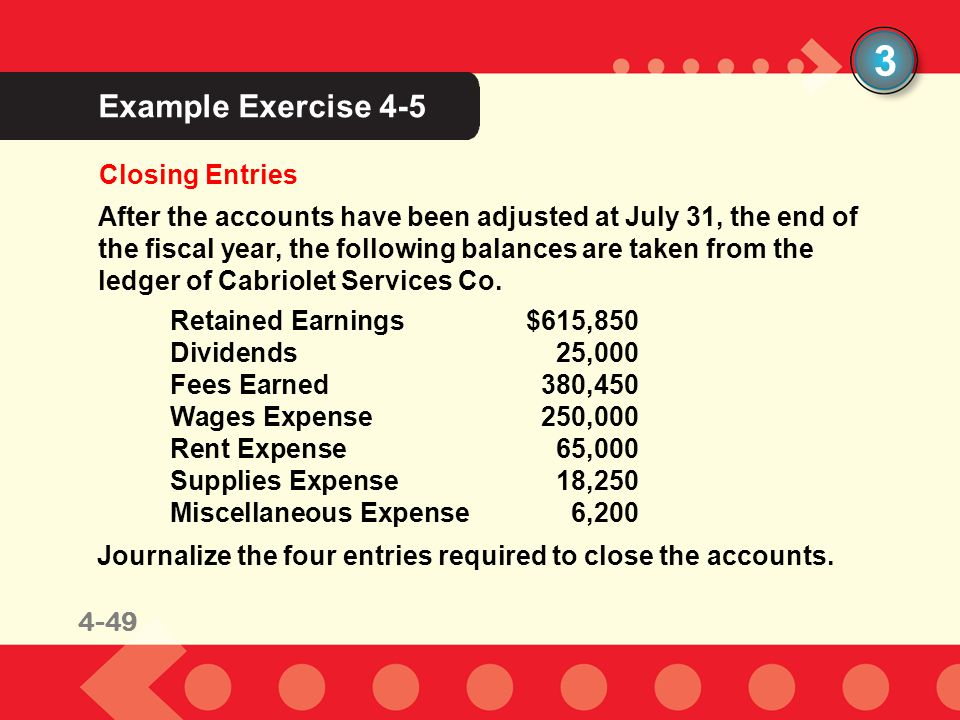 3 Example Exercise 4-5 Closing Entries