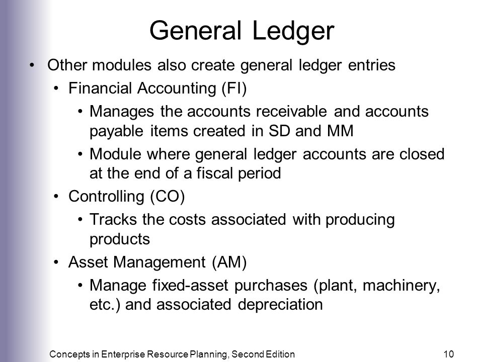 General Ledger Other modules also create general ledger entries