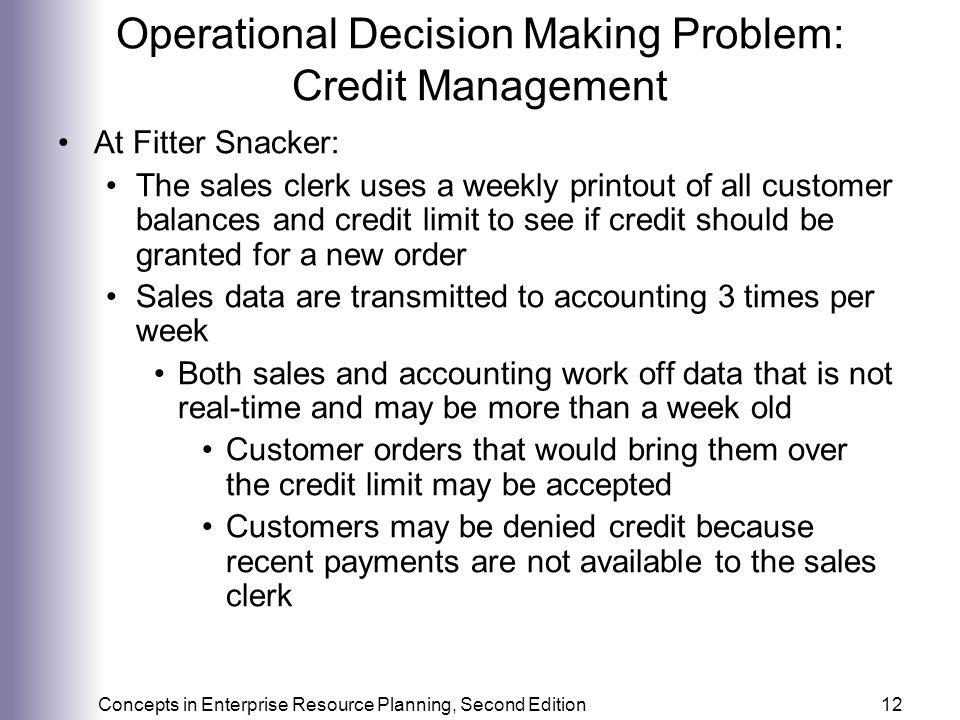 Operational Decision Making Problem: Credit Management