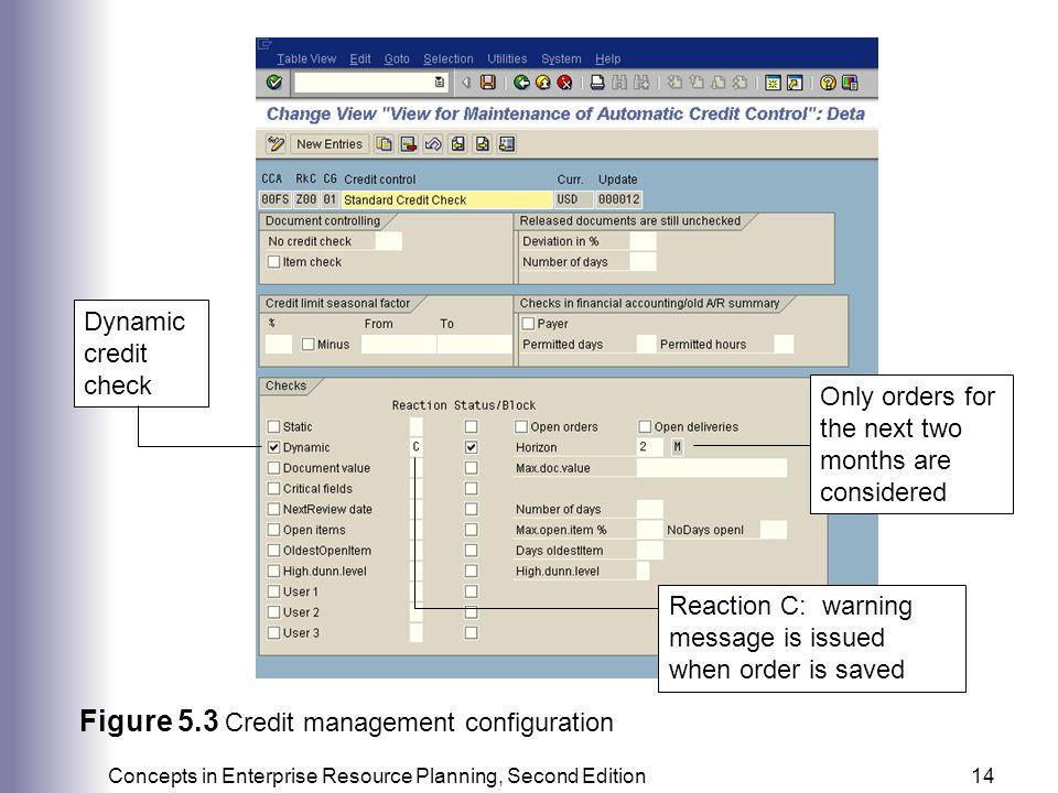 Figure 5.3 Credit management configuration