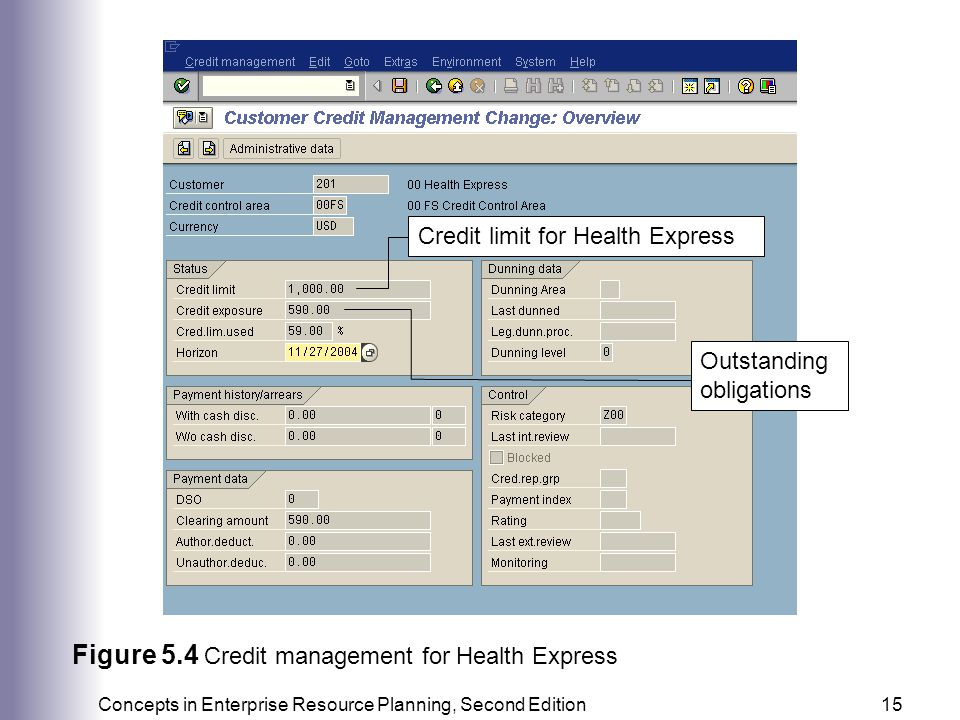 Figure 5.4 Credit management for Health Express