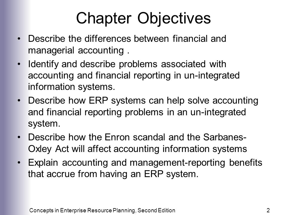 Chapter Objectives Describe the differences between financial and managerial accounting .