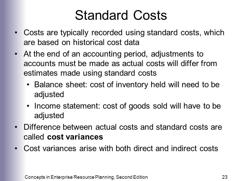 Standard Costs Costs are typically recorded using standard costs, which are based on historical cost data.