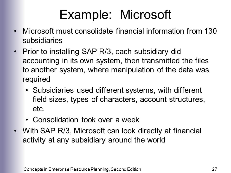 Example: Microsoft Microsoft must consolidate financial information from 130 subsidiaries.