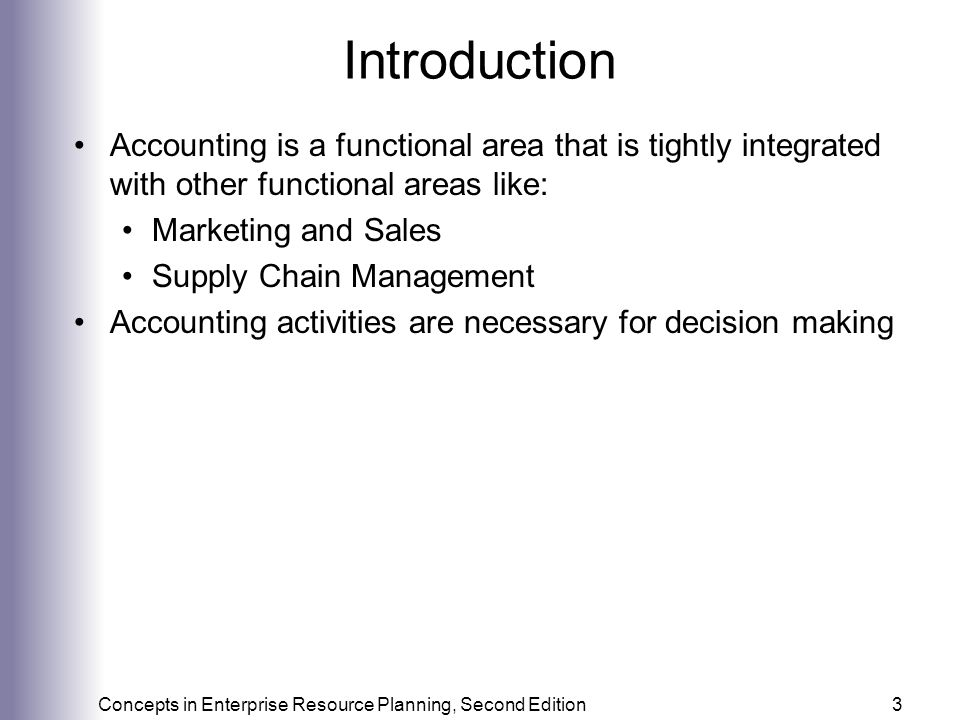 Introduction Accounting is a functional area that is tightly integrated with other functional areas like: