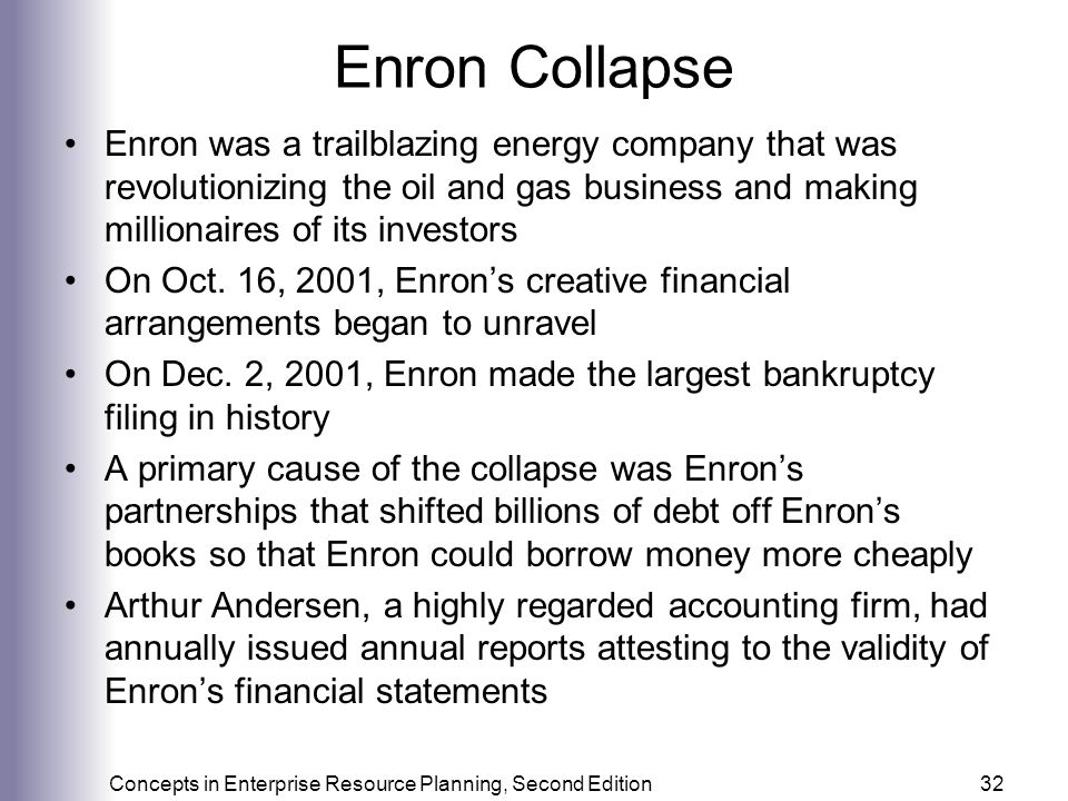 Enron Collapse Enron was a trailblazing energy company that was revolutionizing the oil and gas business and making millionaires of its investors.