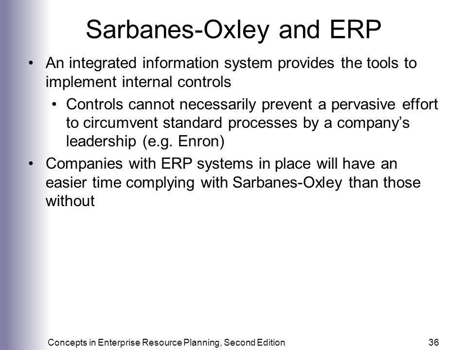 Sarbanes-Oxley and ERP