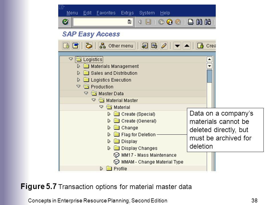 Figure 5.7 Transaction options for material master data