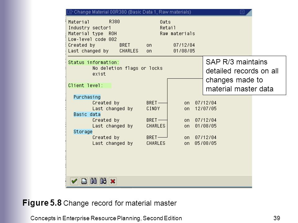 Figure 5.8 Change record for material master