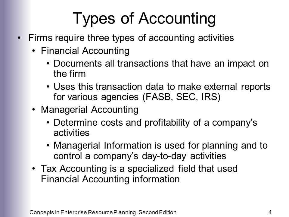 Types of Accounting Firms require three types of accounting activities