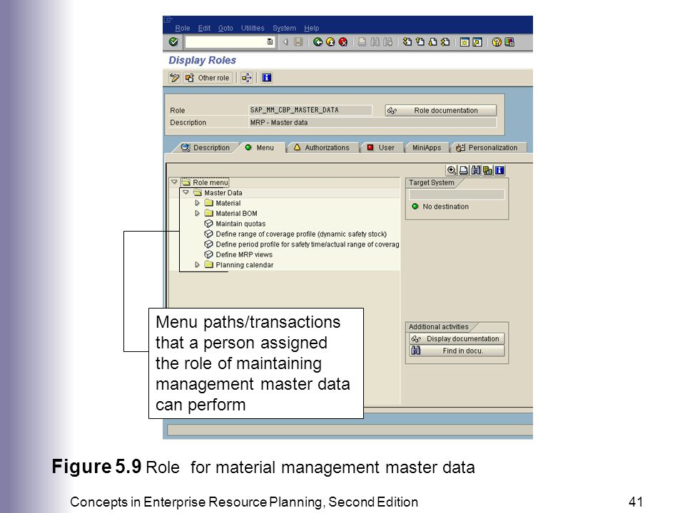 Figure 5.9 Role for material management master data