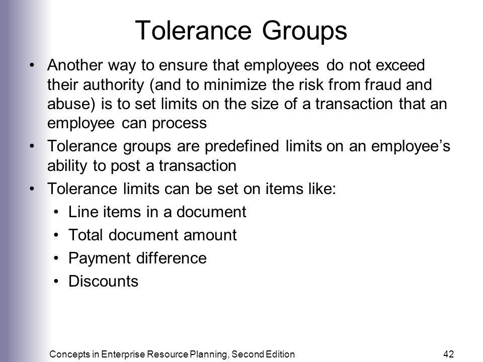 Tolerance Groups