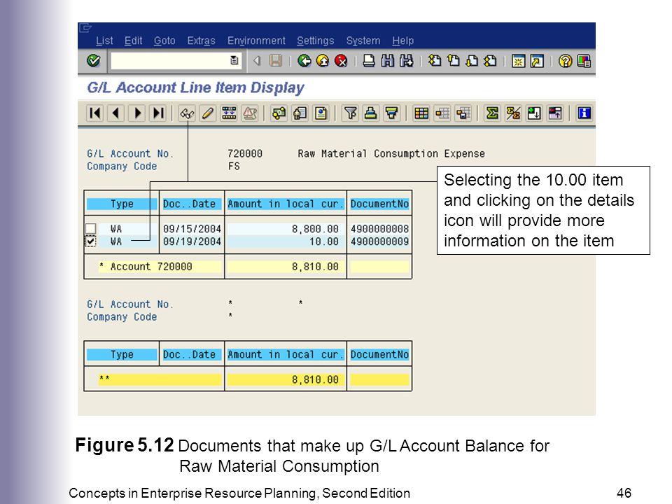Figure 5.12 Documents that make up G/L Account Balance for