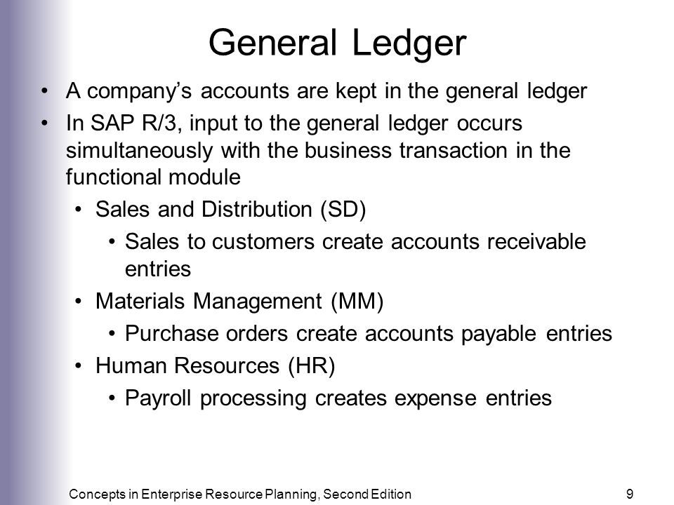 General Ledger A company's accounts are kept in the general ledger