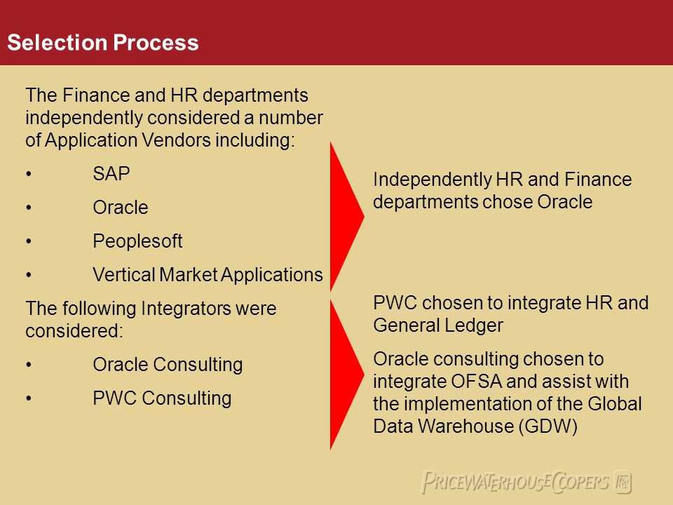 Selection Process The Finance and HR departments independently considered a number of Application Vendors including: