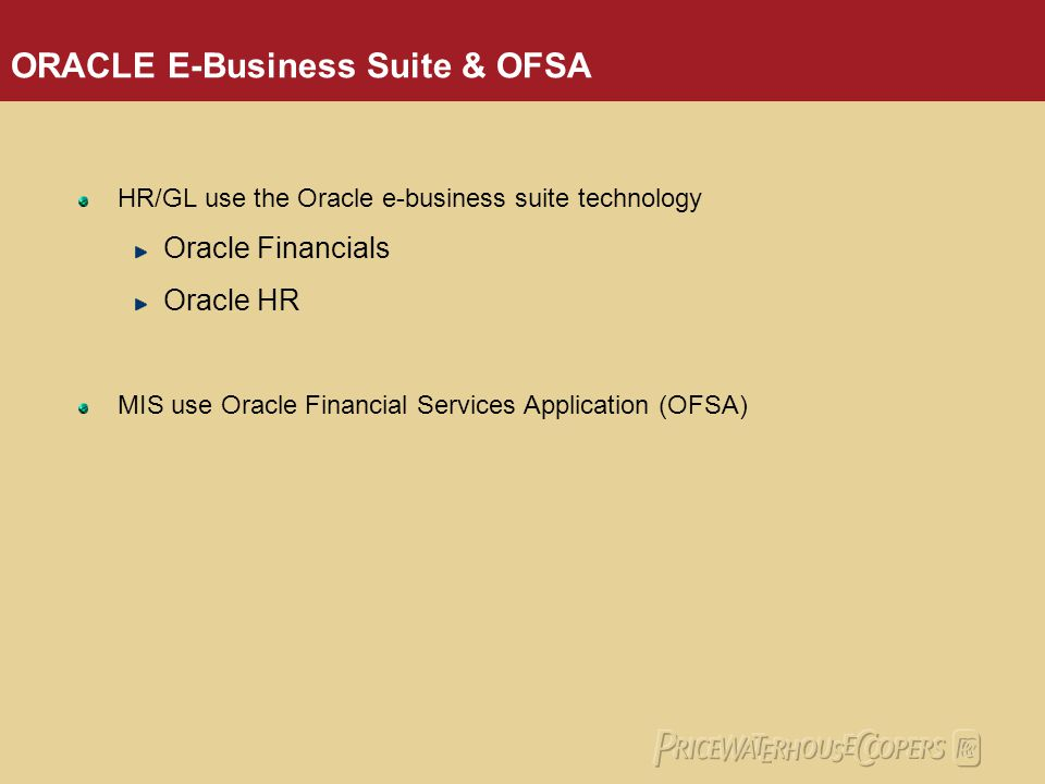 ORACLE E-Business Suite & OFSA