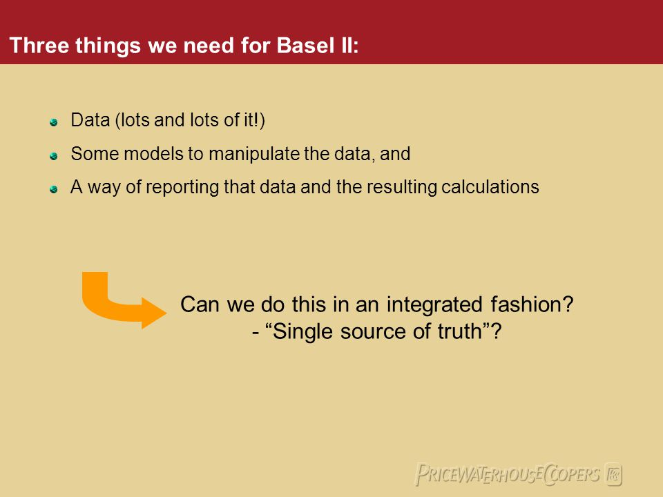 Three things we need for Basel II: