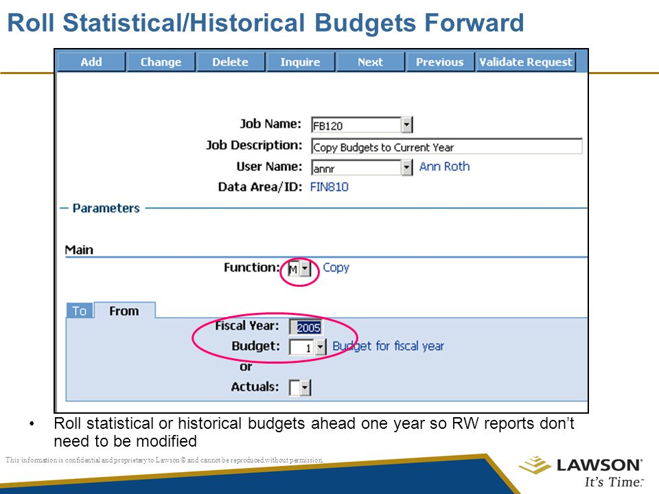 Roll Statistical/Historical Budgets Forward