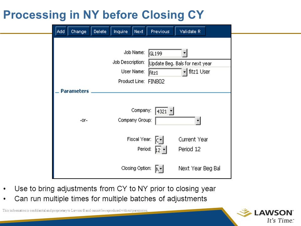 Processing in NY before Closing CY