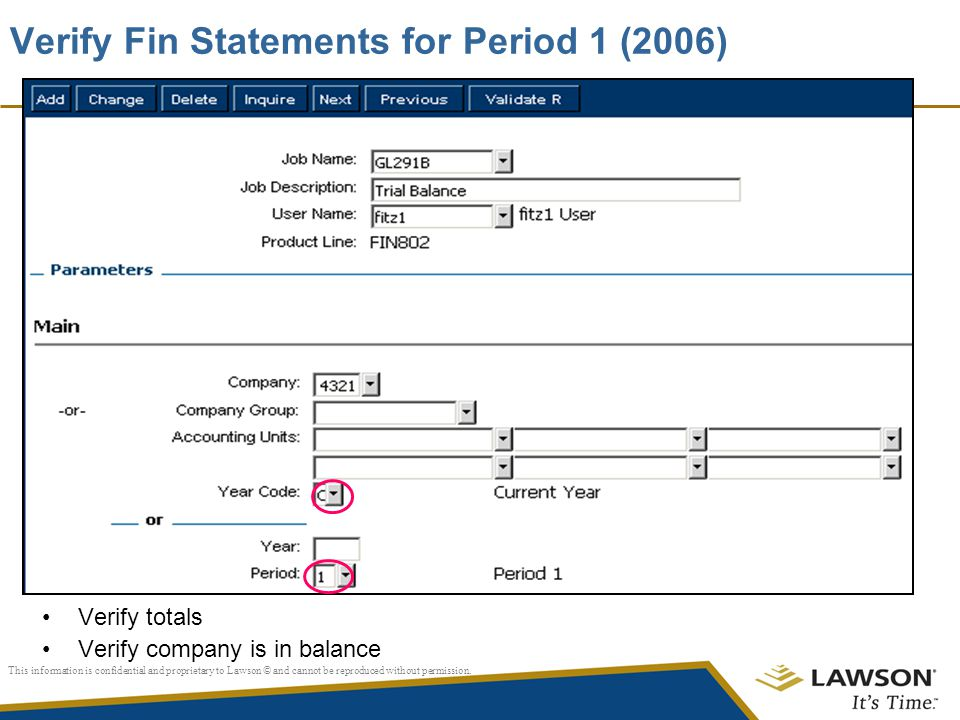 Verify Fin Statements for Period 1 (2006)