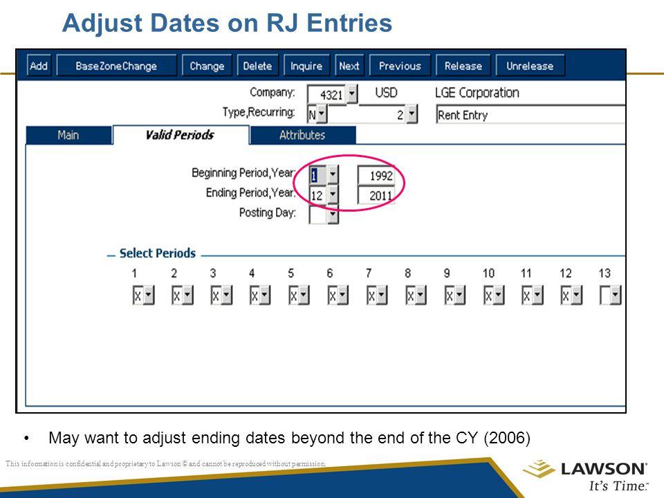 Adjust Dates on RJ Entries