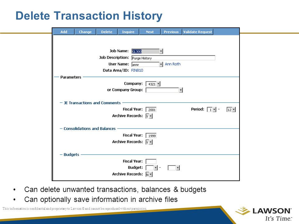 Delete Transaction History
