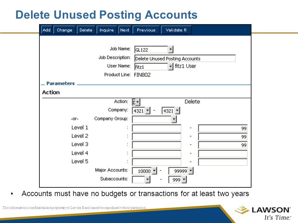 Delete Unused Posting Accounts