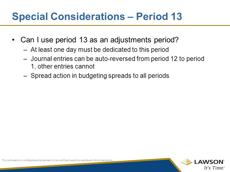 Special Considerations – Period 13