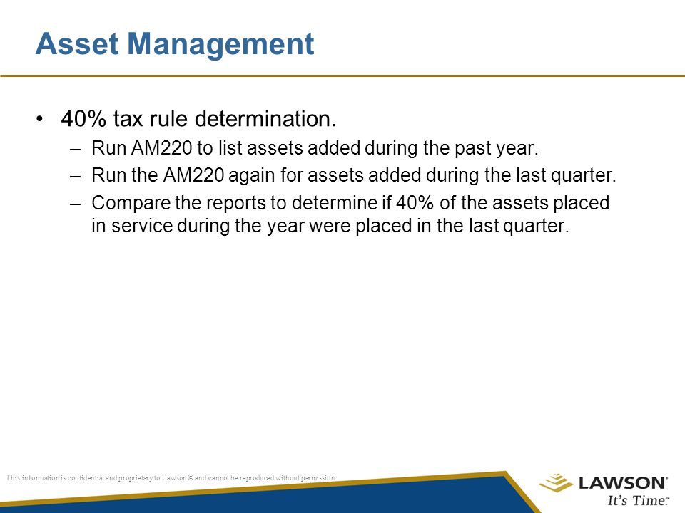 Asset Management 40% tax rule determination.