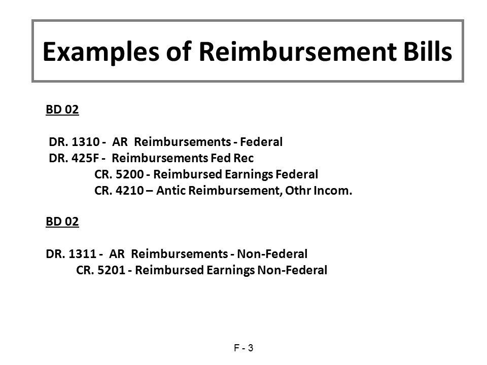 Examples of Reimbursement Bills