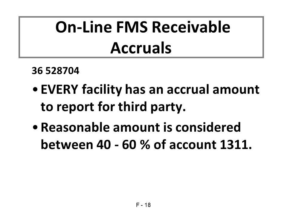 On-Line FMS Receivable Accruals