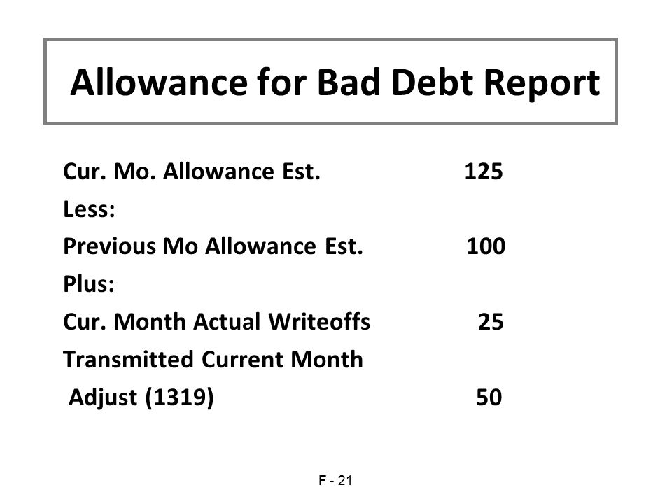 Allowance for Bad Debt Report