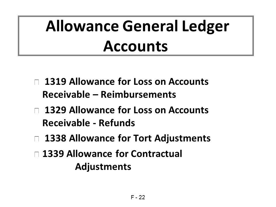 Allowance General Ledger Accounts