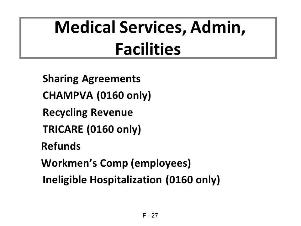 Medical Services, Admin, Facilities