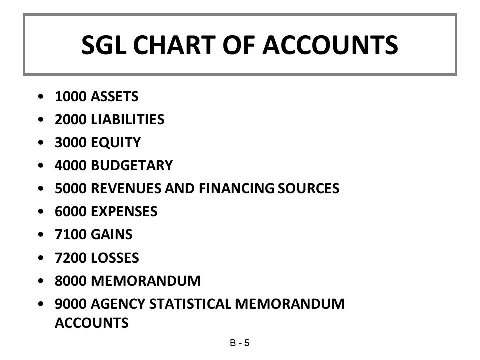 SGL CHART OF ACCOUNTS 1000 ASSETS 2000 LIABILITIES 3000 EQUITY