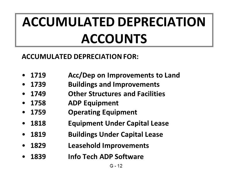 ACCUMULATED DEPRECIATION ACCOUNTS