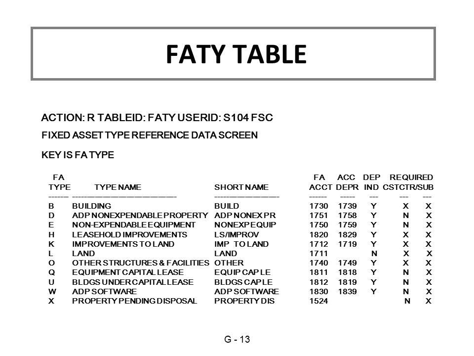 FATY TABLE ACTION: R TABLEID: FATY USERID: S104 FSC