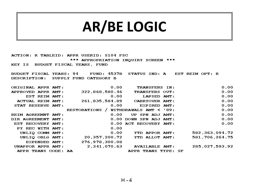 AR/BE LOGIC H - 4